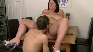 Rough hardcore sex with shaved brunette